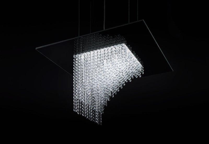 Waterfall square chandelier cryst treniq 1