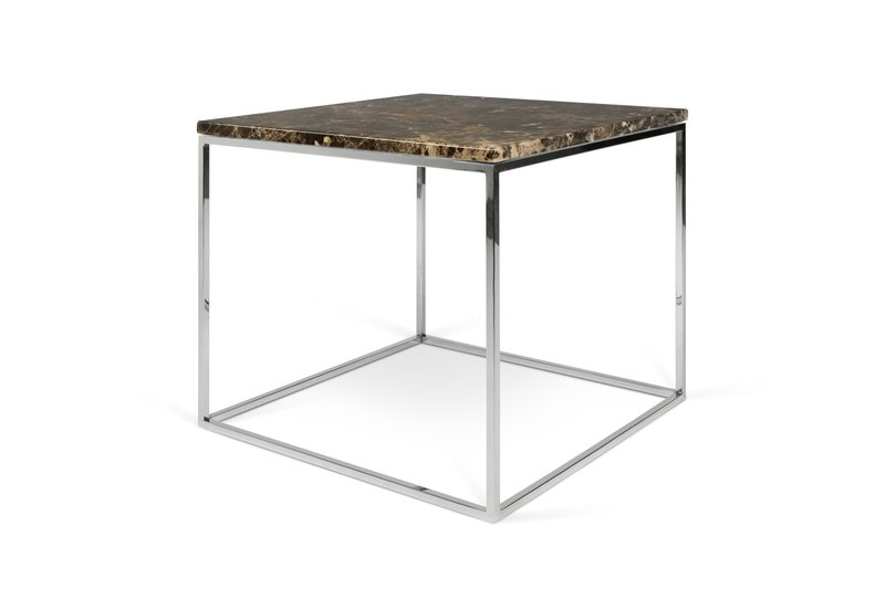 Gleam Brown Marble Coffee Table With Chrome Legs 50