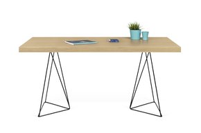 Multi-Desk-With-Trestle-Legs-160cm-Oak-And-Black_Tema-Home_Treniq_0