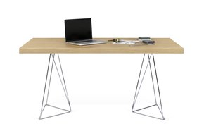 Multi-Desk-With-Trestle-Legs-160cm-Oak-And-Chrome_Tema-Home_Treniq_0