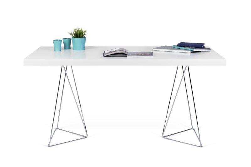 Multi desk with trestle legs 160cm white and chrome temahome treniq 1 1533207848970