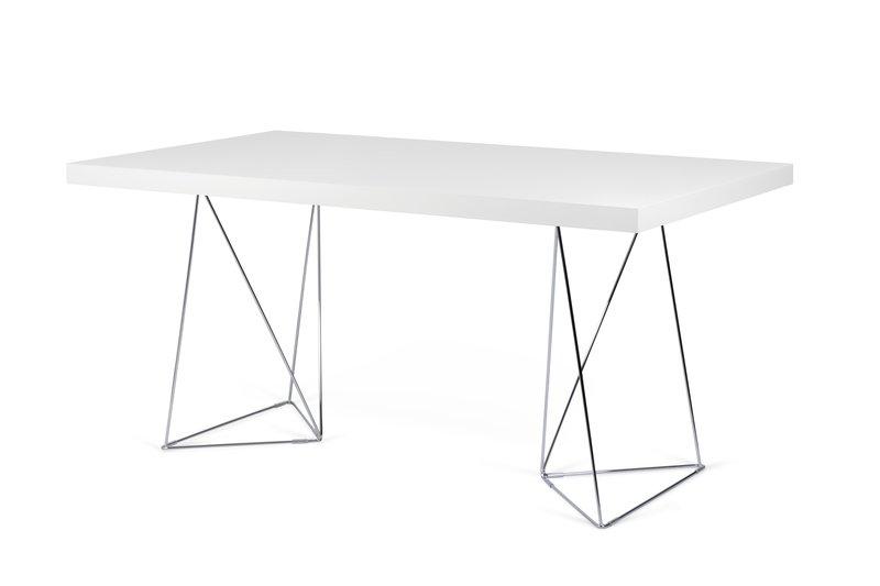 Multi desk with trestle legs 160cm white and chrome temahome treniq 1 1533207856565
