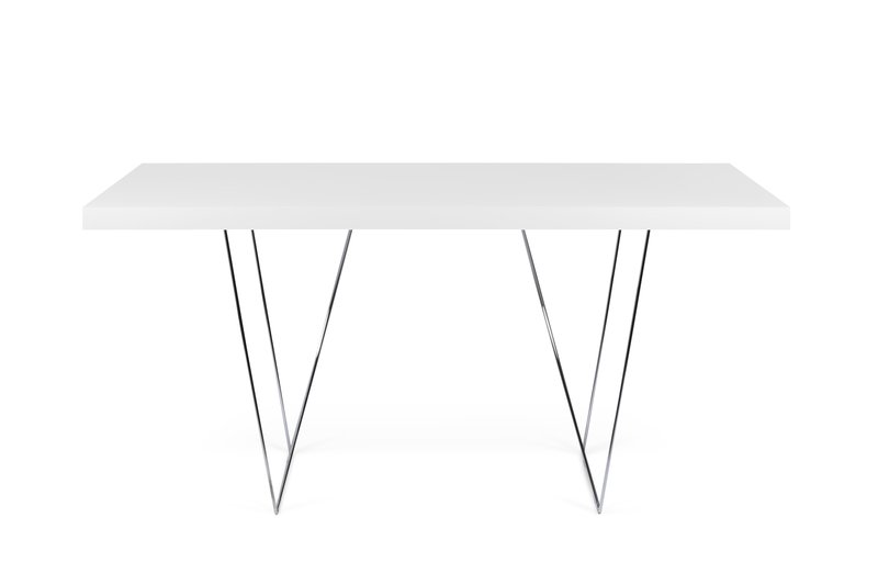 Multi desk with trestle legs 160cm white and chrome temahome treniq 1 1533207856568