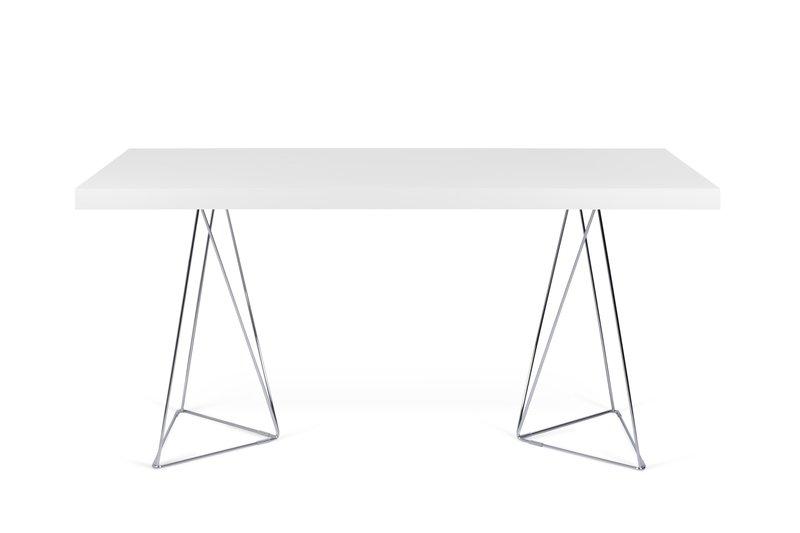 Multi desk with trestle legs 160cm white and chrome temahome treniq 1 1533207856562