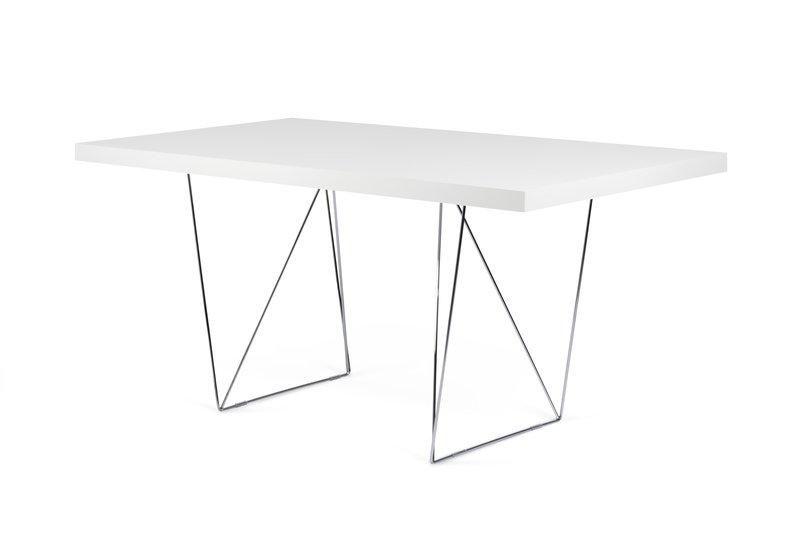 Multi desk with trestle legs 160cm white and chrome temahome treniq 1 1533207856570