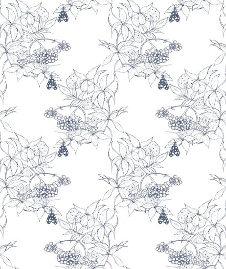 Sambuco Sketch Navy On White Wallpaper Art Deco And Classic By