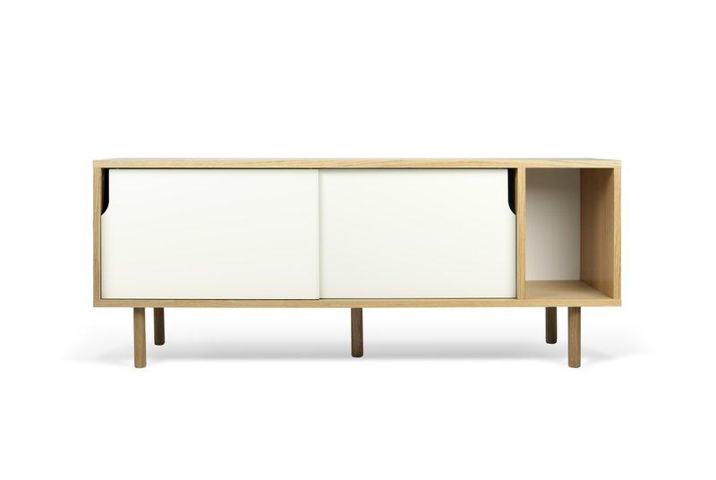 Credenza Dann : Dann sideboard in oak with white doors and wooden legs cream
