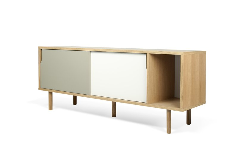 Dann sideboard 165 in oak with white and grey doors and wooden legs temahome treniq 1 1533909748636