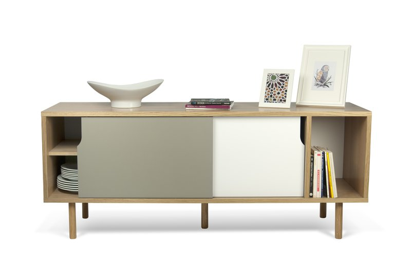 Dann sideboard 165 in oak with white and grey doors and wooden legs temahome treniq 1 1533909748633
