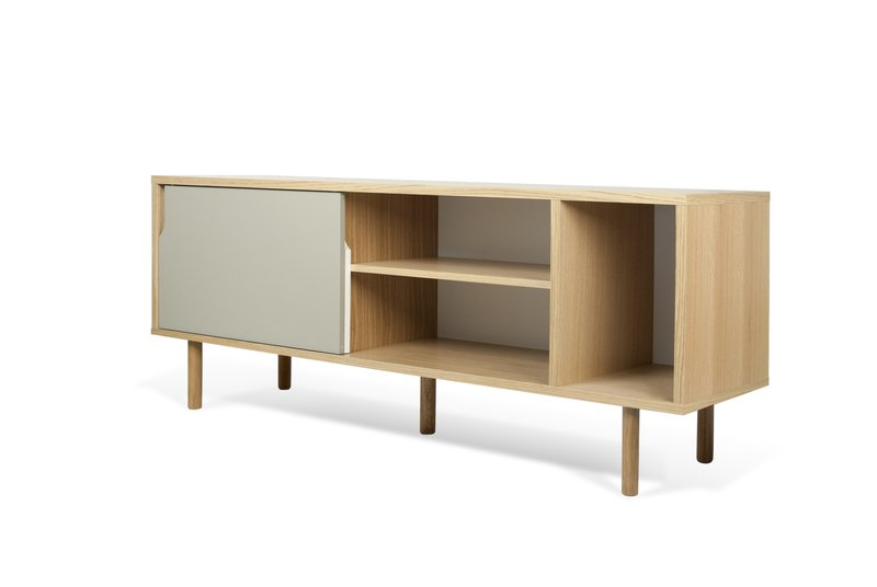 Dann sideboard 165 in oak with white and grey doors and wooden legs temahome treniq 1 1533909748634