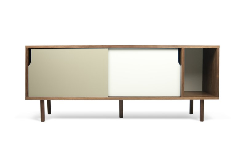 Dann Sideboard 165 In Walnut With White And Grey Doors And Wooden Legs