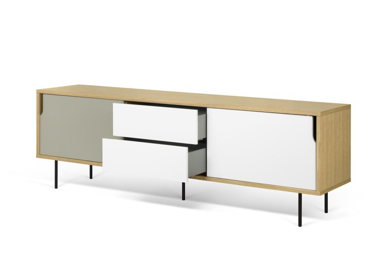 Dann sideboard 201 in oak with white and grey doors and metalic legs temahome treniq 1 1533910026361