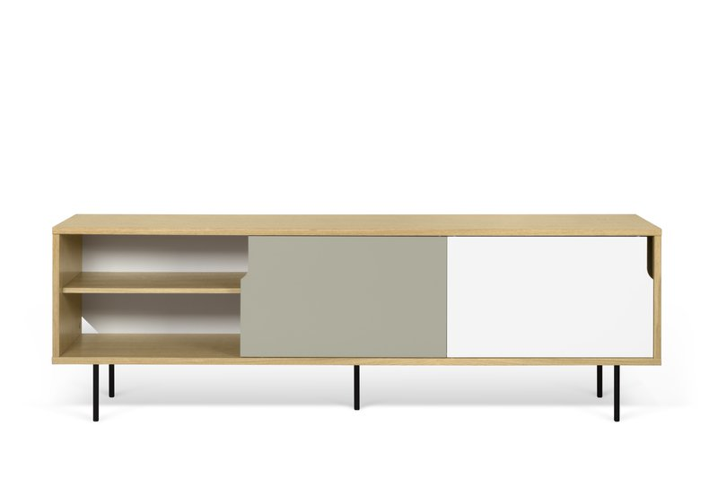 Dann sideboard 201 in oak with white and grey doors and metalic legs temahome treniq 1 1533910026365