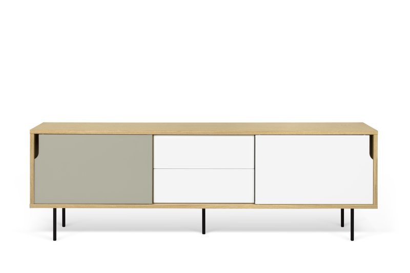Dann sideboard 201 in oak with white and grey doors and metalic legs temahome treniq 1 1533910026357