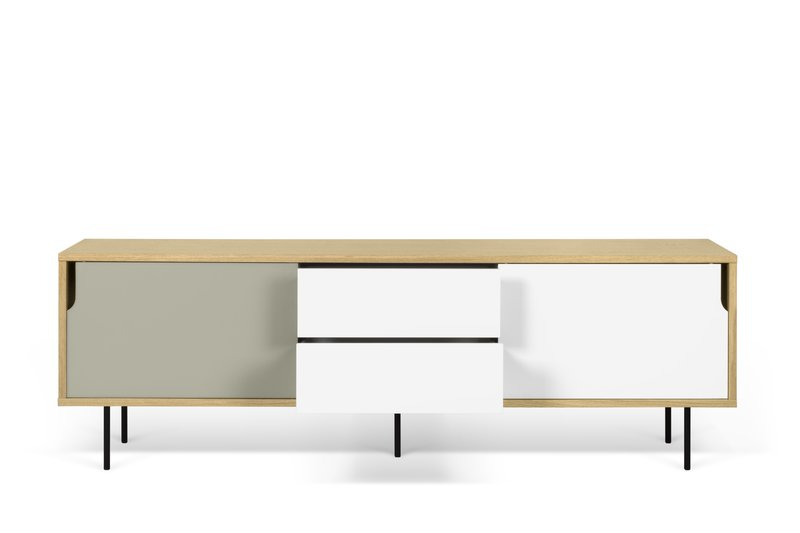 Dann sideboard 201 in oak with white and grey doors and metalic legs temahome treniq 1 1533910026358