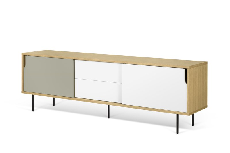 Dann sideboard 201 in oak with white and grey doors and metalic legs temahome treniq 1 1533910026356