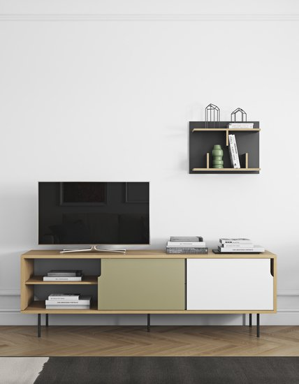 Dann sideboard 201 in oak with white and grey doors and metalic legs temahome treniq 1 1533910045897