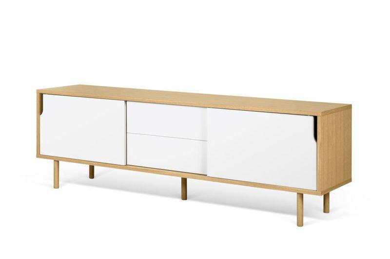 Dann Sideboard 201 In Oak With White Doors And Wooden Legs