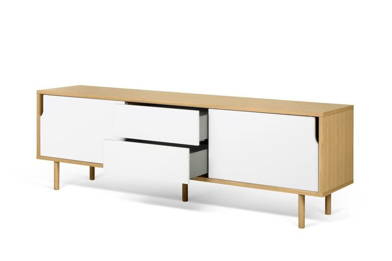 Dann sideboard 201 in oak with white doors and wooden legs temahome treniq 1 1533910176722