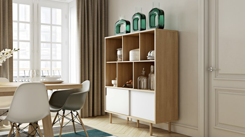 Dann cupboard with white doors and wooden legs  temahome treniq 1 1533910400962
