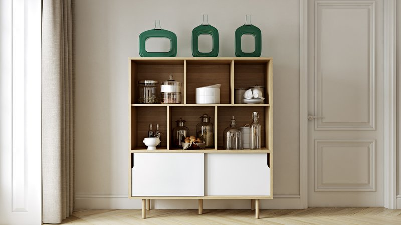 Dann cupboard with white doors and wooden legs  temahome treniq 1 1533910400960