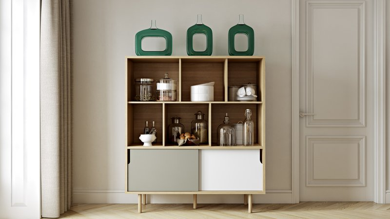 Dann cupboard with white and grey doors and wooden legs temahome treniq 1 1533910489030