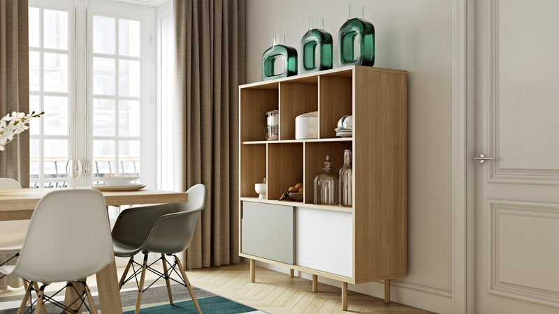 Dann cupboard with white and grey doors and wooden legs temahome treniq 1 1533910489031