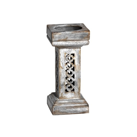 Trellis candleholder small in distressed silver mela artisans treniq 1 1534434542668
