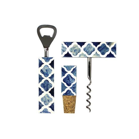 Quatrefoil bar set in indigo and white mela artisans treniq 1 1534434839076