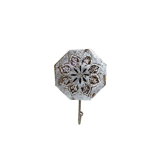 Serena octagon single hook in distressed silver mela artisans treniq 1 1534435422399