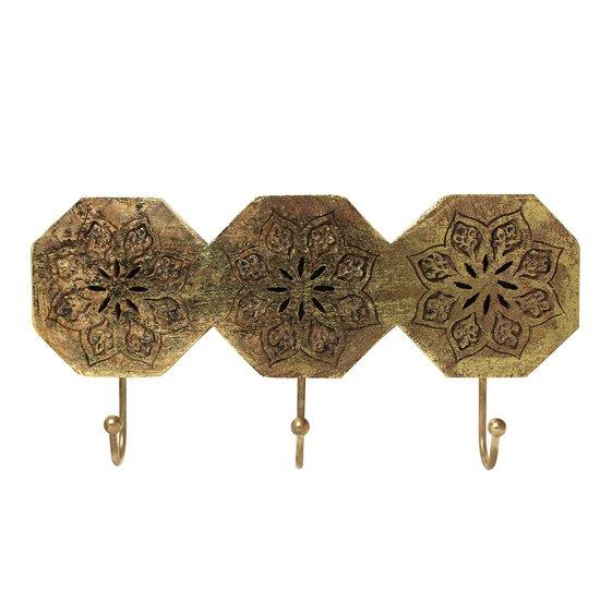 Serena octagon triple hook in distressed gold mela artisans treniq 1 1534510412091