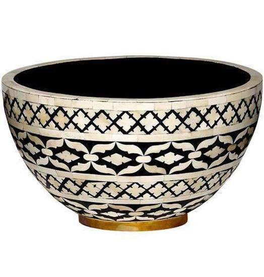 Imperial beauty decorative bowl large in black and white