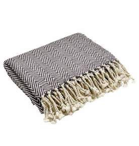 Caress Silk Throw in Grey and White