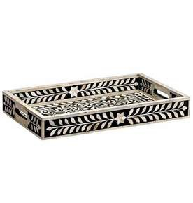 Imperial Beauty Decorative Tray Large in Black and White