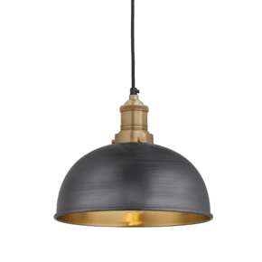 Brooklyn Dome Pendant - 8 Inch - Pewter & Brass