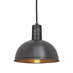 Sleek Dome Pendant - 8 Inch - Pewter & Copper