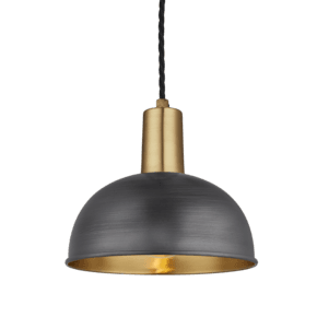 Sleek Dome Pendant - 8 Inch - Pewter & Brass