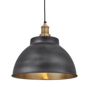 Brooklyn Dome Pendant - 13 Inch - Pewter & Brass