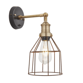 Brooklyn Rusty Cage Wall Light - 6 Inch - Cone