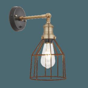 Brooklyn Rusty Cage Wall Light - 6 Inch - Cone