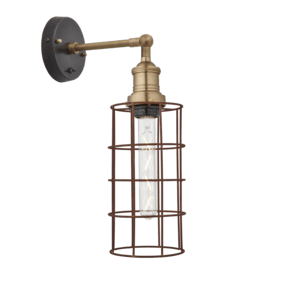 Brooklyn Rusty Cage Wall Light - 5 Inch - Cylinder