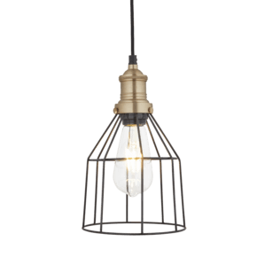 Brooklyn Wire Cage Pendant - 6 Inch - Pewter - Cone