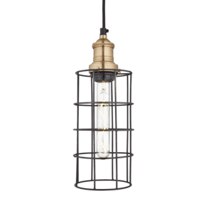 Brooklyn Wire Cage Pendant - 5 Inch - Pewter - Cylinder