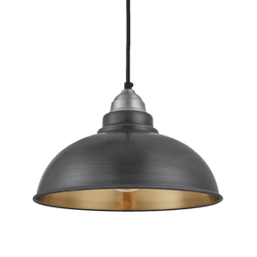 Old Factory Pendant - 12 Inch - Pewter & Brass