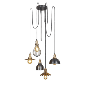 Brooklyn 5 Wire Pendant - Brass - Incl Shades