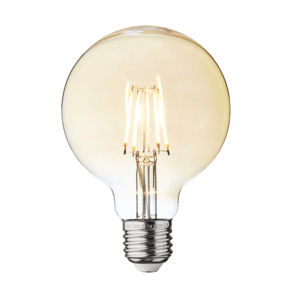 Vintage LED Edison Bulb Old Filament Lamp - 5W E27 Small Globe G95 - Amber