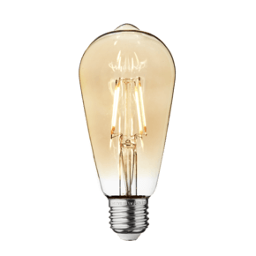 Vintage LED Edison Bulb Old Filament Lamp - 5W E27 Pear ST64 - Amber
