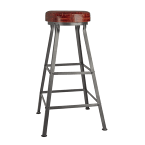 Tall Real Leather & Metal Work Bar Stool - 32 inch