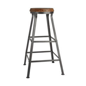 Tall Solid Wood & Metal Work Bar Stool - 32 Inch