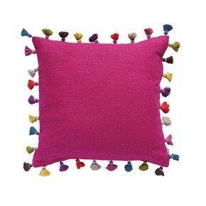Cerise Linen Tassel Cushion
